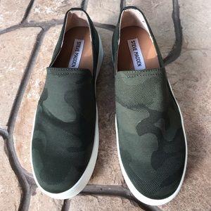 Steve Madden Green Camo Slip On Sneakers NWOT